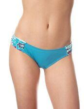 Panache Loren Gathered Side Bikini Brief Ruched SW0514 Teal Blue White Floral