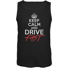 Keep Calm Drive Fast Black Adult Tank Top