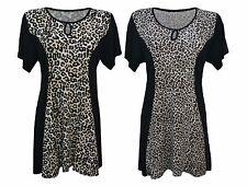 New Women Ladies Print Swing Short Sleeve Smock Top Tunic Plus Size 14-32