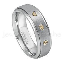 0.21ctw Smokey Quartz Ring, November Birthstone Ring,Brushed Tungsten Ring #068
