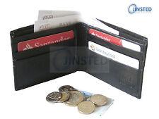 Black Leather Saddle Stitch BI Wallet 9 Cards 2 Note Stud Closure Gift Box W0009