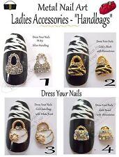 Metal Handbags Gold/Silver  Alloy + 3d Nail Art Crafts Phone Bling Pearl Bags #1