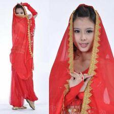 Indian veil Belly Dance Costume Chiffon Head Veil Shawl Gold Trim Party veil