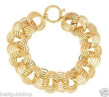 Bold Diamond Cut Interlocked Circle Rolo Bracelet Real 14K Yellow Gold 19.3grams