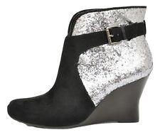 Guess LANDAN Ankle Boot Wedge Bootie Heel Shoe Pump Black/Silver Glitter New