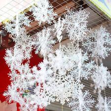 30pcs White Snowflake Plastic Ornaments Christmas Holiday Party Xmas Tree Decor