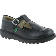 Niñas Niños Kickers Kick T Negro Cuero Zapatos Escolares kf0000849