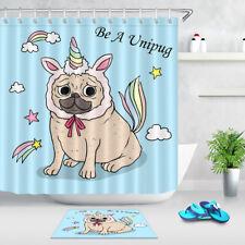 Funny Pug Dog & Unicorn Hat Shower Curtain Liner Bathroom Mat Waterproof Fabric
