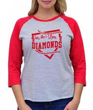 FOR THE LOVE OF DIAMONDS baseball field softball season Women's 3/4 Sleeve Tee