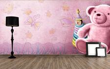 3D Warm Pink Teddy Bear Paper Wall Print Decal Wall Deco Indoor wall Murals