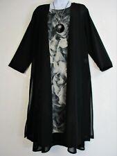 Saloos Black & Grey Lined Layered Dress and Sheer Jacket Sizes:12,14,16,18,20,22