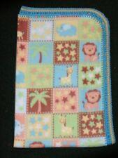 Crib/Nap/Fleece Blanket/Handmade -Star Psalm Trees And Jungle Animal Blocks