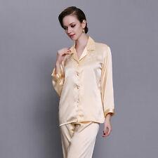 Women Silk Satin Pajamas Pyjamas Set Sleepwear Loungwear Homewear Nightwear P041