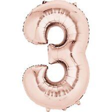 Oro Rosa 3 años Gigante Globo Helio Metalizado Número 3 3rd Fiesta Cumpleaños