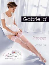 Gabriella halterlose Strümpfe Calze Princessa 20DEN XS-L 188 Weiß Nylons 36-46