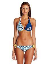 Corona Women's Floral Push Up Halter Bikini Loop Side Tie Bikini Bottom F2373