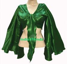 Green - Satin Tie Top Belly Dance Flair Wrap Choli Gypsy Haut Danse Blouse