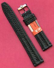 VINTAGE OMEGA STEEL BUCKLE & GENUINE BLACK LEATHER CAVADINI STRAP BAND 18mm