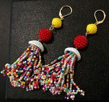 "Multicolor Tassel Earrings Trendy Fashionable Fringe Earrings 3"" Long Gold"