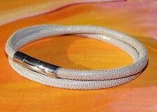Ladies Cream printed leather & stainless steel bracelet  by Lyme Bay Art