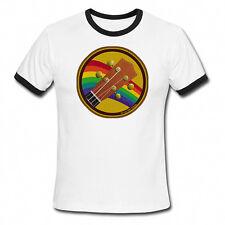 Mens Ringer T-Shirt UKULELE Retro Patch Music Gift Fathers Day Birthday