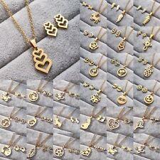 Elegant Women Stainless Steel Jewelry Set Gold Pendant Chain Necklace Earrings