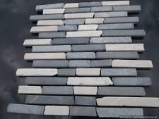 Brickbone Marble Mosaic Wall Tiles Light Grey & White ( SAMPLE ) shower kitchen