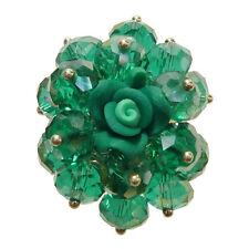 Bague cristal facette VERT émeraude fleur fimo réglable Taille 56 58 60 62 64 66