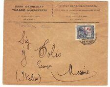 TURKEY-ITALY 1929 GALATA TO MESSINE FRANKED 5 KURUSH REVALUED 2 KURUSH MESSINA