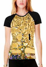 Gustav Klimt The Tree of Life Women's All Over Graphic Contrast Baseball T Shirt