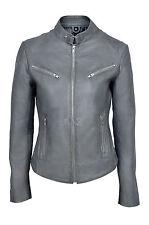 Joan Grey Ladies Womens  Short Soft Nappa Sheep Designer Real Leather Jacket