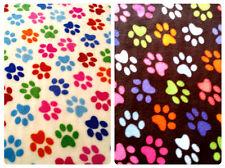 "Anti-Pil Polar Fleece Fabric - Multi Colour Paw Print Pattern - 59"" (150cm) wide"
