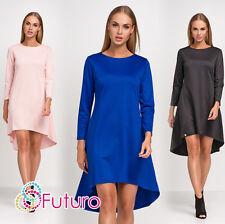 Womens Formal Asymmetric Dress Long Sleeve Crew Neck Sizes 8 - 14 FA453