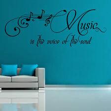 Music Is The Voice Wall Sticker Art Retro Sayings Popular 60cm x 164cm