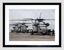 Fuerza Aérea de guerra helicóptero CH53E Super Stallion Cubierta de impresión arte enmarcado B12X4851