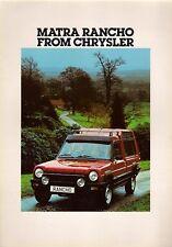 Chrysler Matra Simca Rancho 1978 UK Market Foldout Sales Brochure