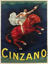 PLAQUE ALU DECO AFFICHE CINZANO ALCOOL CAPPIELLO 1910 CHEVAL CABRE CAVALIER