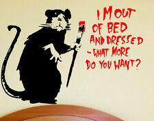 FUN contemporaneo FAB Parete Adesivo Vinile Banksy IM Out of bed adesivi da parete NUOVO