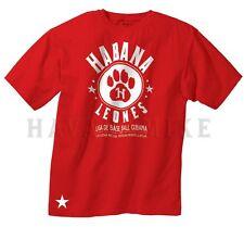 HABANA LEONES Cubano Baseball de Cuba T-Shirt HAVANA LIONS Short Sleeve RED