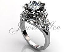Platinum Leaf and Vine Forever One Moissanite Flower Engagement Ring ERMZ-1058