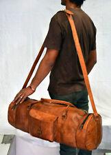 "Bag Duffel Gunuine Brown Leather Retro vintage 30"" Round duffle travel gym bag"