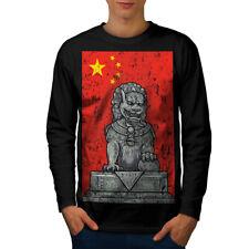Wellcoda China Flag Lion Mens Long Sleeve T-shirt, Parade Graphic Design