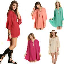 UMGEE Womens Boho Bohemian Vintage Chic Crepe Lace 3/4 Bell Sleeve Dress S M L