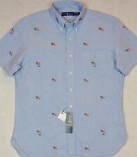 Ralph Lauren Shirt Blue Oxford Embroidered USA Flags 2XB 2XLT 3XB 3XLT NWT
