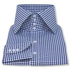 "High collar shirt 3"" band 4 buttons Blue Gingham Checks 100% Cotton shirts Gents"