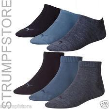 3 6 Pares Puma Zapatillas o Calcetines de Cuarto Cortos Unisex Denim Azul 460