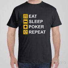 Funny T-shirt EAT SLEEP POKER REPEAT cool novelty tee shirt