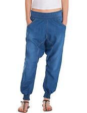 Damen Jeans Hose baggy relaxed loose fit Pluderhose Aladin Haremshose blau Neu