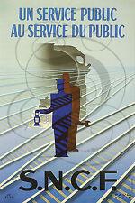 PLAQUE ALU REPRODUISANT UNE AFFICHE SNCF UN SERVICE PUBLIC TRAIN RAIL LAMPE