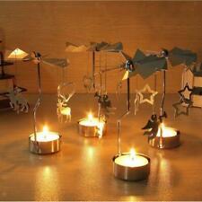 Christmas Decor Rotating Candle Tea Light Holder Candlestick Ornament Gold
